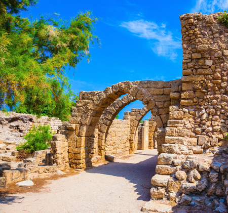 remained: National park Caesarea on the Mediterranean Sea. Israel. Perfectly remained ancient arch overlappings of malls