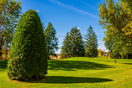 the french way: Concept Golf tourism. Golf Club on the way to Bromont, the French Canada. Phenomenally beautiful park with red, orange and green autumn foliage Stock Photo
