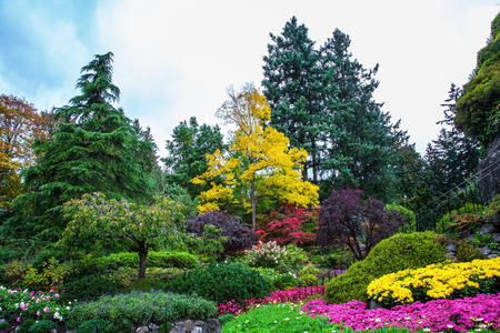 Beautiful landscaped park-garden on Vancouver Island, Canada.