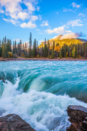 Scenic Athabasca Falls in Jasper National Park. Emerald water roars and foams on steep slope Stock Photo