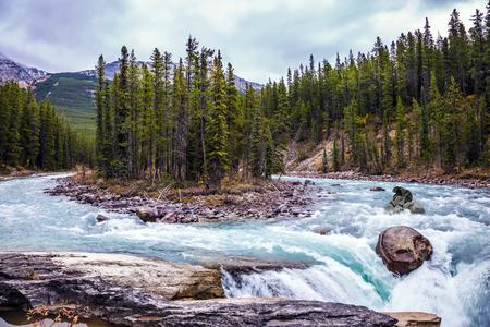 turismo ecologico: El viaje ecológico a Canadá. El concepto de turismo extremo. Pequeña isla en aguas color esmeralda del río. El oso pasa el río áspero Foto de archivo