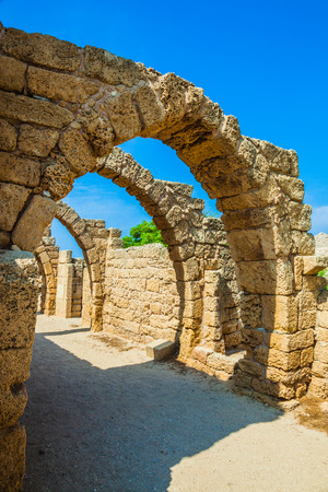 Arch overlappings of malls of antique times. National park Caesarea on the Mediterranean Sea. Israel