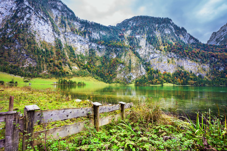 berchtesgaden:  Pretty lake Konigssee. Berchtesgaden in Germany. Picture taken from on board tourist boats. The concept of ecotourism