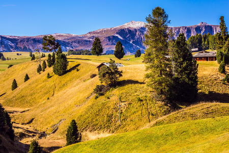world natural heritage: The  Dolomites - World Natural Heritage. Concept pedestrian and ecotourism. Fabulous quiet mountain valley Stock Photo