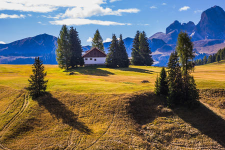 world natural heritage: Fabulous quiet mountain valley. The  Dolomites - World Natural Heritage. Concept pedestrian and eco-tourism Stock Photo