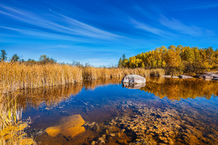 Yellow autumn grass is reflected in the smooth water surface. The Winnipeg River. Old Pinawa Dam Provincial Heritage Park. The concept of travel Around the World