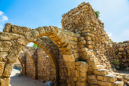 Vaulted ceilings of stalls ancient times. National park Caesarea on the Mediterranean Sea. Israel