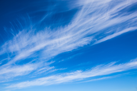 Incredible cirrus clouds over the Winnipeg River. Indian summer in Canada. Old Pinawa Dam Park Stock Photo