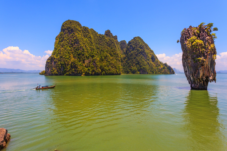 Fine rest in Thailand by native boats. The gulf in the Andaman Sea. James Bonds island in the form of a vase