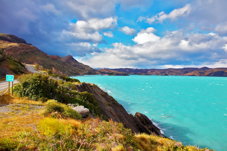 Beautiful Patagonia. Park Torres del Paine in southern Chile. Emerald waters of Lake Pehoe Stock Photo
