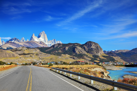 roy: Excellent highway in Patagonia.  Famous rock Fitz Roy peaks in the Andes.