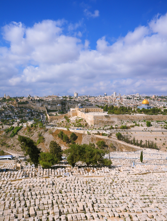 The ancient Jewish cemetery on the Mount of Olives. Ancient Jerusalem and the mosque Masjid Al-Sahra Kubbat.