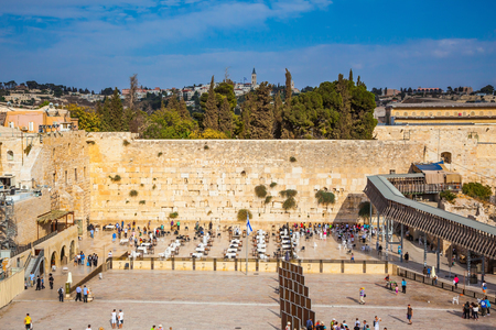 The area of the Western Wall of the Temple. Autumn holiday Sukkot. Soon evening Stock Photo