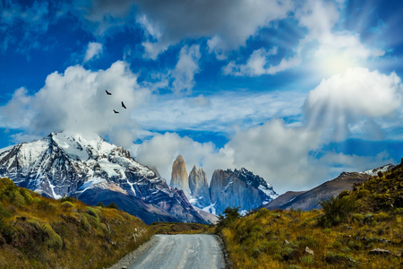 Gravel road in the Torres del Paine National Park. The mountains and rocks are covered with snow and ice. Summer in the south of Chile. The concept of active and extreme tourism