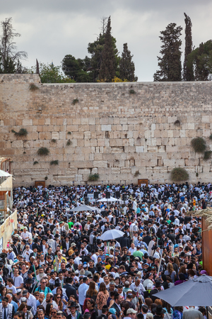 sukkoth festival: The area in front of the Western Wall of the Temple filled with people. The Jewish holiday of Sukkot,  Jerusalem Editorial