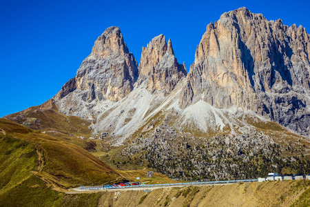 Travel to South Tirol. The concept of extreme and ecological tourism. The famous picturesque Sella Pass in the Dolomites