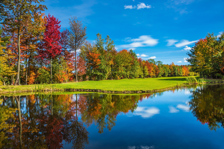 Shining sunny day in French Canada. Red, orange and yellow autumn foliage reflected in the clear water of the lake. Concept of recreational tourism. Park fantastic beauty