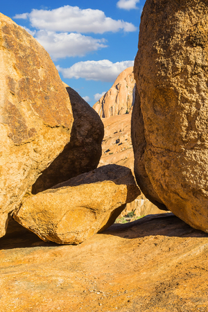 Huge granite rocks and stones in the Desert Namib. Stones of Spitzkoppe, Namibia. Concept of extreme and ecological tourism