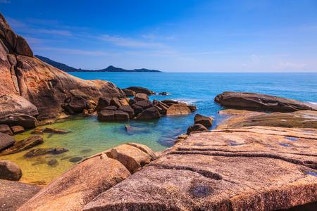 smooth: Huge stones polished smooth sea. Lamai Beach in Koh Samui, Thailand