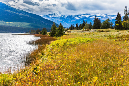 Rocks, lakes and yellow grass under flying clouds. Trip to the Rockies of Canada. Concept of active automobile and ecological tourism Stock Photo