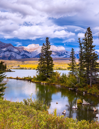 The valley along the Pocahontas road. Shallow-water lakes, overgrown with yellowed grass, picturesque firs and distant mountains.  The concept of car tourism
