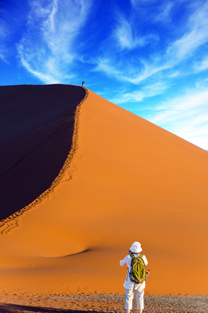Elderly enthusiastic woman with a green backpack is taking pictures of purple and yellow dunes.  Namib desert. The concept of extreme and exotic tourism