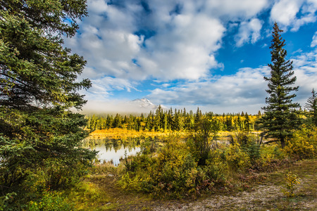 The concept of ecotourism. Pyramid Mountain among fog and clouds. Patricia Lake among the pines. Rocky Mountains in Canada