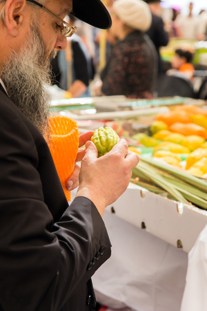 JERUSALEM, ISRAEL - OKTOBER 16, 2016: Traditional market before the holiday of Sukkot. Religious Jew in a black hat choose a ritual fruit - etrog