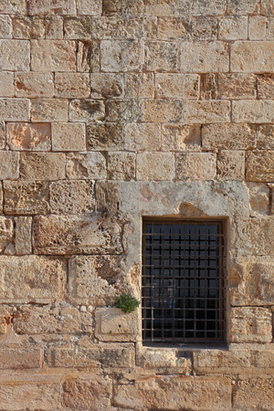 lattice window: An ancient Crusader fortress. The window closed by a lattice