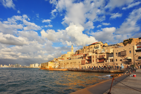 jewish houses: Old Jaffa seaport at sunset. Tel Aviv, Israel