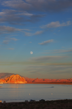 Spectacular sunset. Lake Powell lit up the last rays of the setting sun Stock Photo