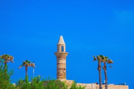 National park Caesarea on the Mediterranean Sea. Minaret and fortifications of the Arab period Caesarea Stock Photo