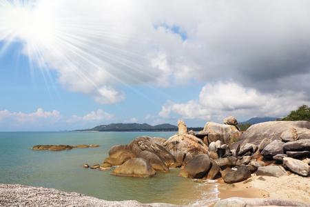Picturesque cliffs adorn Lamai beach on Koh Samui Stock Photo