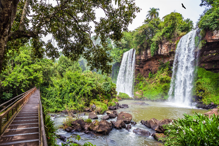 Argentina. Two powerful fairy waterfalls from Iguazu Falls fall into a small quiet pond. The concept of extreme and ecological tourism  Fenced wooden walkways laid in front of waterfall.