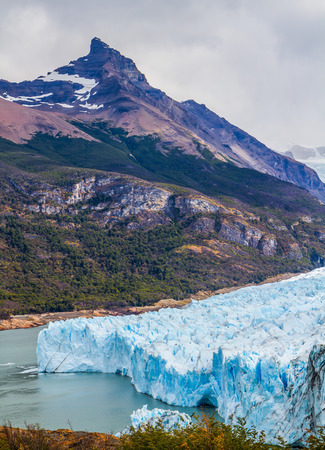 Argentine Province of Santa Cruz, Patagonia. Unique lake and fantastic glacier Perito Moreno,  in a mountain valley. The concept of  exotic and extreme tourism
