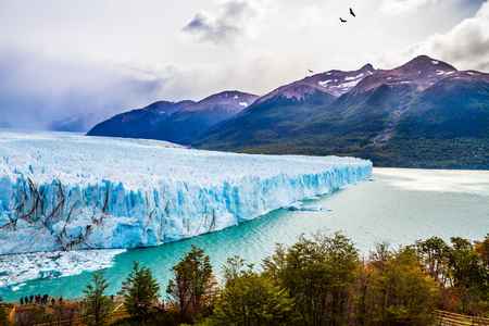 Argentine Province of Santa Cruz, Patagonia. Unique lake and glacier Perito Moreno,  in a mountain valley. The concept of  exotic and extreme tourism Stock Photo