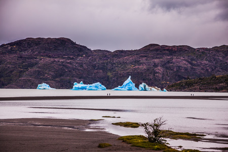 Lago Gray is in February. Blue icebergs float on the water. Chile, Torres del Paine National Park. Concept of active and exotic tourism