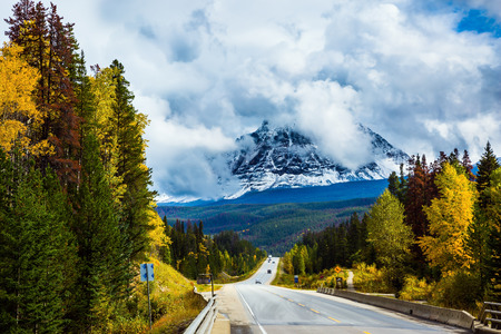 astonishing: The astonishing Highway 93 Icefields Parkway passes among the snow-capped mountains. The grandiose nature of the Rockies of Canada. The concept of active car tourism