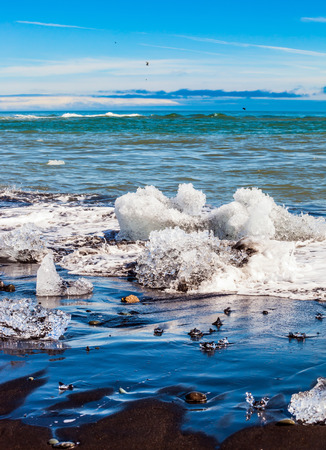 Beach with brown - black sand covered with ice shards. The concept of extreme northern tourism. Atlantic coast, Iceland. Ice Lagoon Jokulsarlon