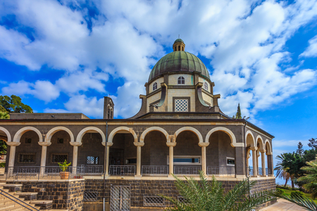 The majestic dome of the basilica is surrounded by a gallery with columns. Church Sermon on the Mount - Mount of Beatitudes. Sea of Galilee, Israel