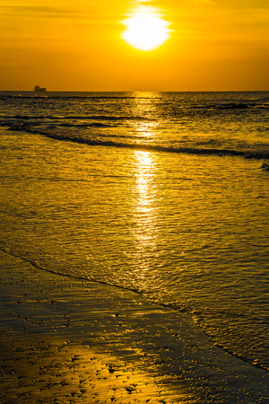 Delightful sunset on the Mediterranean coast in Caesarea. Warm winter in Israel. Concept of ecological tourism
