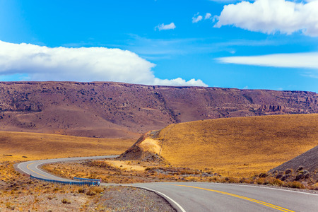 Asphalt road in the Patagonia prairie. Summer day in February. The concept of active and extreme tourism