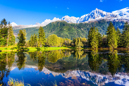 Snowy peaks of the Alps are reflected in the lake. Delightfully beautiful park in the mountain resort of Chamonix, at the foot of Mont Blanc. Concept of active and ecotourism