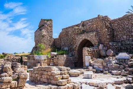 National park Caesarea on the Mediterranean. Israel. Ruins of ancient defensive walls and urban facilities.