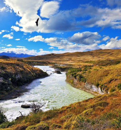 National Park Torres del Paine, Patagonia, Chile. The river bends between the hills. Huge black Andean condors flying over water