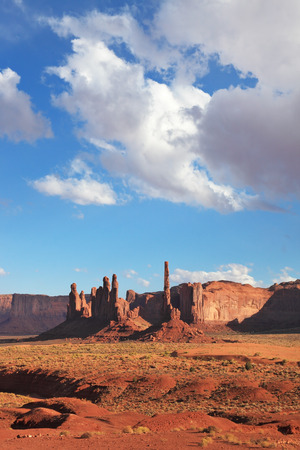 Red Desert. The famous cliffs of various forms of Monument Valley. Navajo Reservation in the U.S.