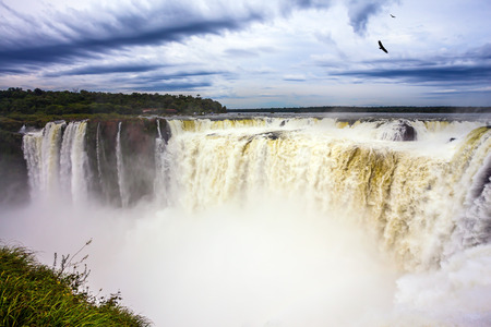 Grandiose waterfalls Iguazu in the rainy season - the Devils Throat. Over the rumbling waterfall Andes condors fly. Concept of active and photographic tourism