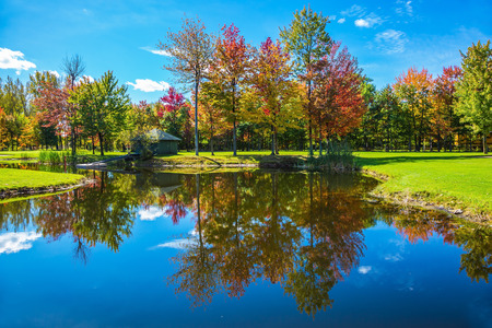 Red, orange and green autumn foliage is reflected to clear water of the lake. The shining sunny day in the French Canada. Park of beauty. Concept of recreational tourism