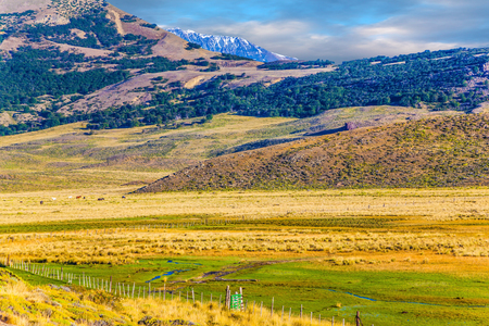 The huge possessions of hacienda are surrounded by distant mountains. The grass field with streams from underground sources. Argentine Patagonia. The concept of exotic and active tourism Stock Photo