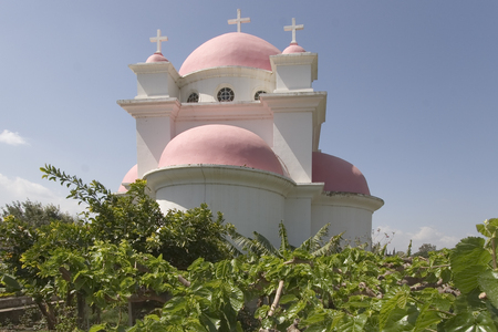 Orthodox church on coast of the lake of Tiberias, shined by the sun, a church garden and a vineyard